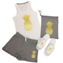 Pineapple Vest Top & Shorts Pyjamas Set - Fresh Fruit PJs + Add Slippers Option